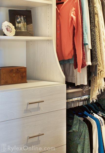 Light Grey Compact Closet, Bedroom Closet Hutch