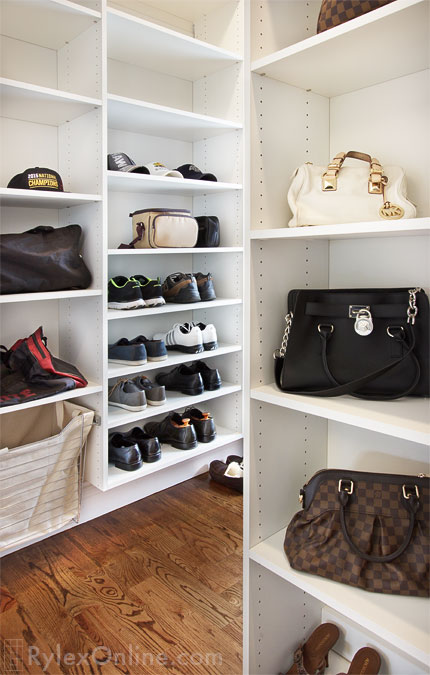 Closet With Adjustable Shoe Shelves ...