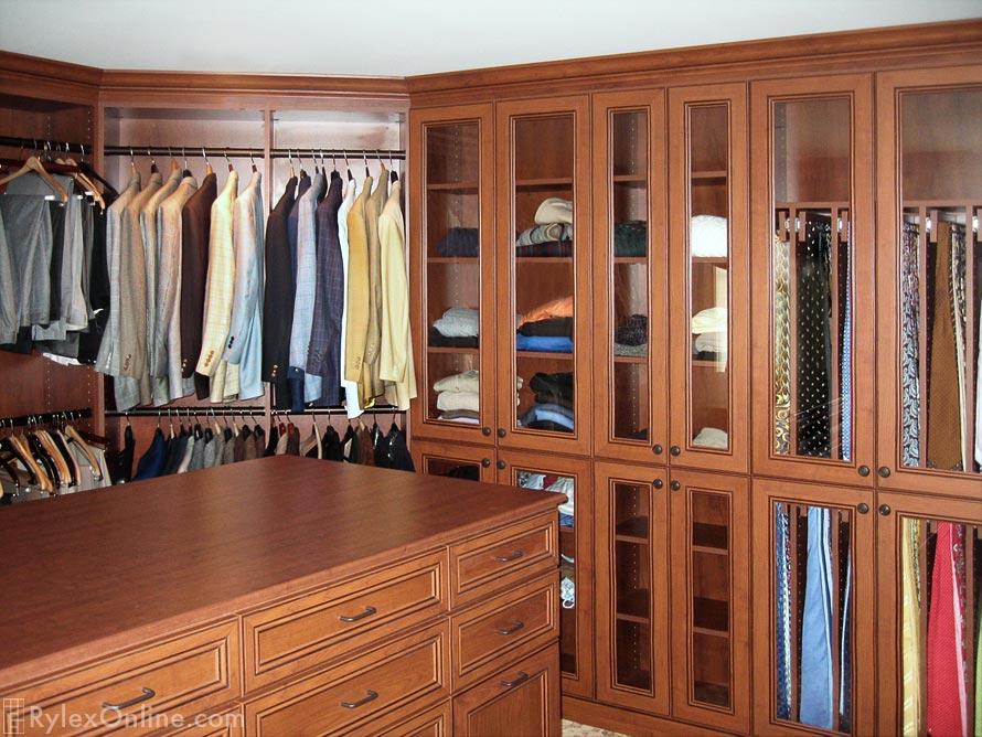 Master Walk In Bedroom Closet With Tv Tie Cabinet Orange County Ny