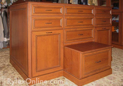 Closet Island Cabinet with Bench