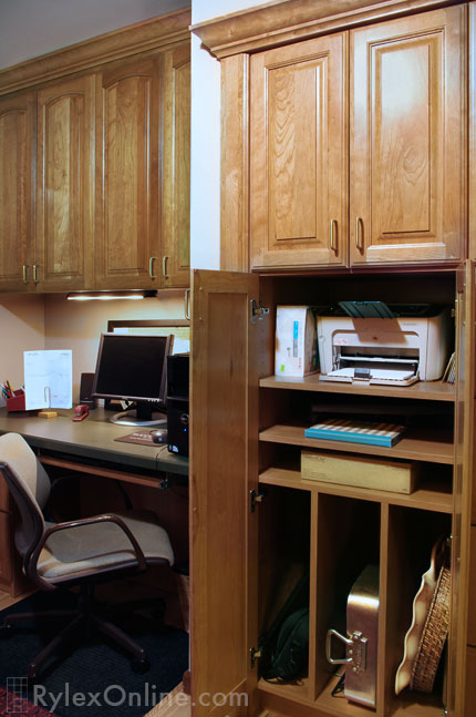 Compact Home Office Desk Built In Cabinet