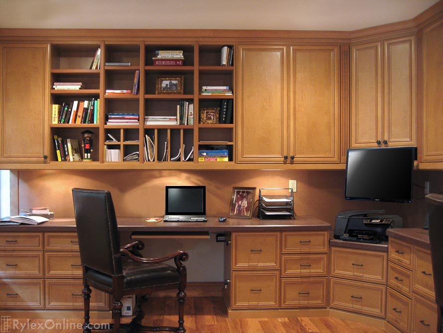 cherry custom home office desk. Custom Home Office Solid Cherry Wood, Builtin With Cabinets Desk