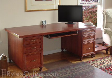 Executive Home Office Solid Cherry Wood Desk