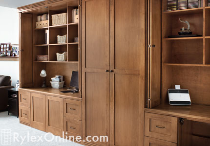 Home Offices with Supply Cabinet in Between