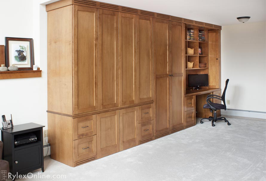 Dual Office in Large Custom Cabinet