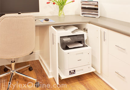 Pull Out Printer Shelf Sliding Office Cabinet