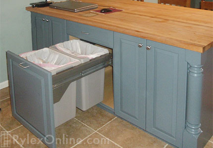 Kitchen Island with Trash Pullout